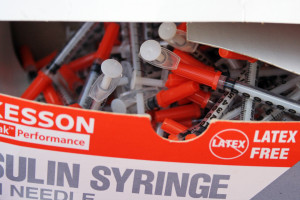 Clean syringes were carried by Prevention Point's mobile bus for a syringe exchange.