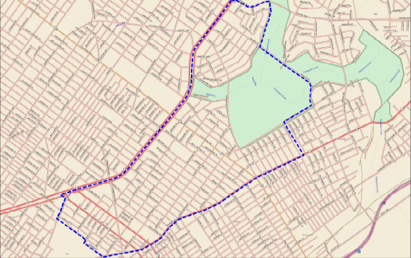 The blue dots represent the outline of Mayfair, according to the Mayfair Civic Association.