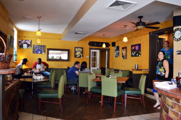 Customers ate and drank just before the end of Hinge Cafe's brunch hours ended.