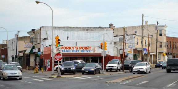 Porky's Point sits in-between N. 5th St and Rising Sun Avenue. The restaurant has served the community since 1974 one Pastelillos at a time.