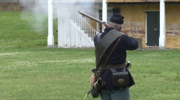 Kalichak delights visitors with a weapon firing.