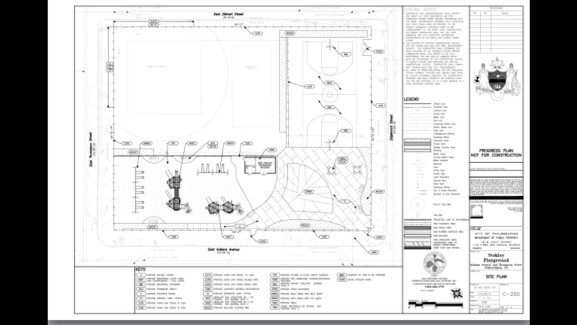 Blueprints for the playground renovation.