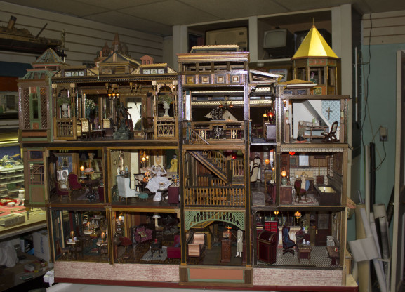 A miniature replica of a hotel that Kriaris built inside his Fishtown home.