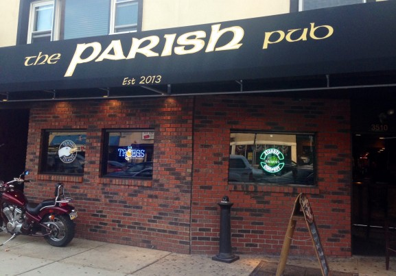 The Parish Pub is open late and offers daily drink and food specials.