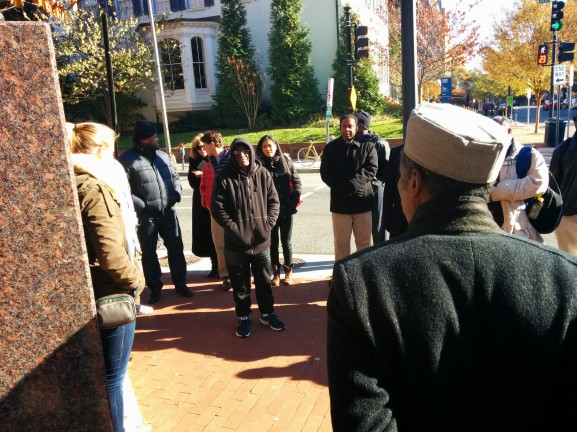 Bey stands with his fellow veterans on the group's tour of George Washington University.