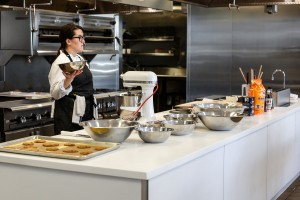 Chef Joan Jablonoski explains the importance of separating dry ingredients from wet ingredients.