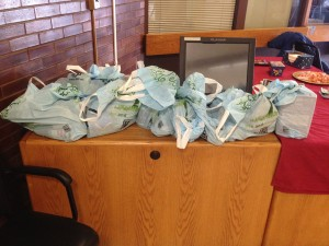 Bags collected by Calvary Fellowship for the homeless