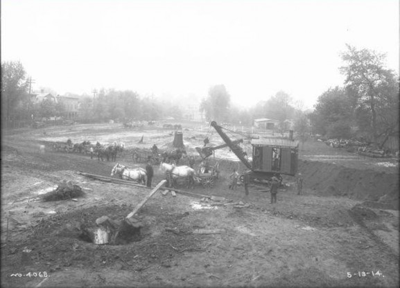 Construction of Germantown High School in 1914. Photo Courtesy of PhillyHistory.org, a project of the Philadelphia Department of Records