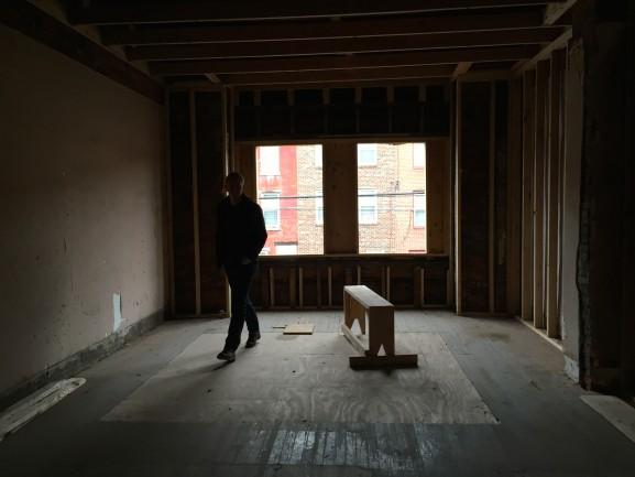 Joe Livewell in future apartment unit, Richmond Street