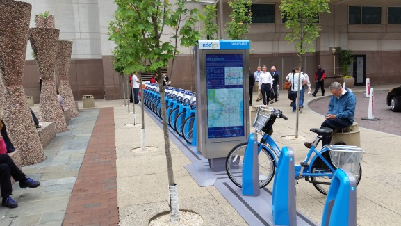 IndeGo bike-share station at 12th and Arch streets.