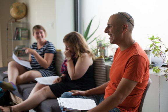 Seth Goren jokes with fellows Ellie and Stephanie.