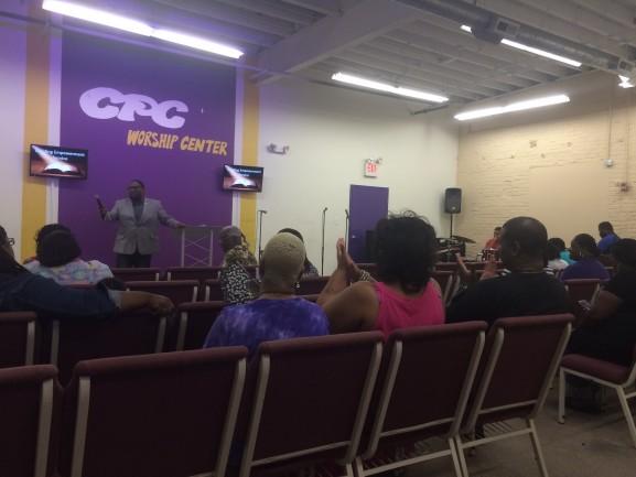 Pastor David Fitzgerald delivering his sermon.