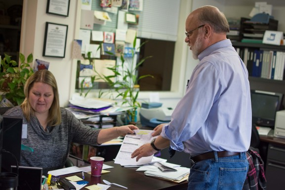 Victim Advocate Megan Torpey and Executive Director Jerry Bolzak in their Mayfair office on Friday, Jan. 29, 2016.