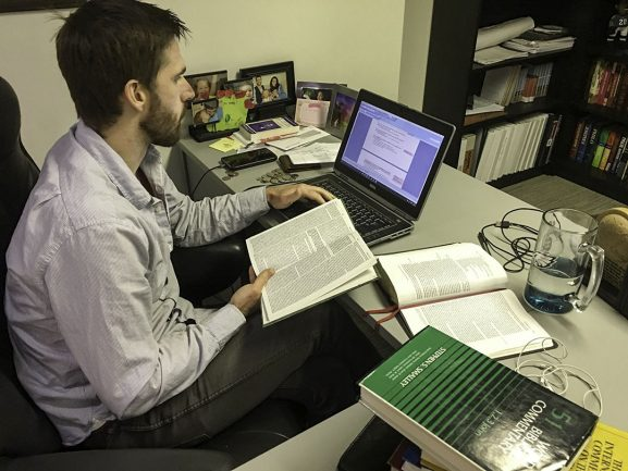 Pastor Jeff Boettcher preparing for his next sermon.