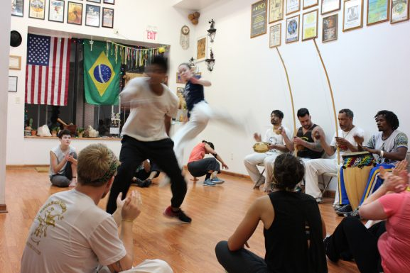 Students sparring at Ascab Capoeira