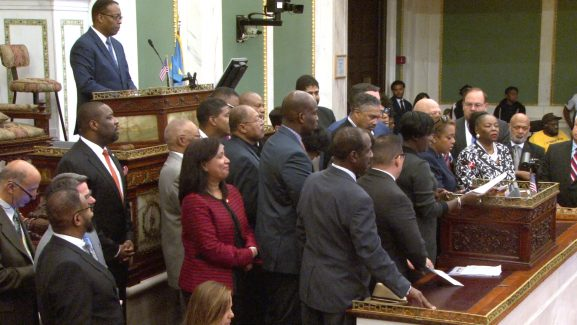 A look at members of City Council, including Council President Darrell Clarke, during a weekly Council meeting.
