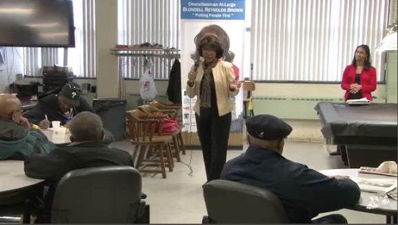 Brown speaks to Senior Citizens at the Martin Luther King Jr. Adult Center at its annual Senior Citizen Expo.
