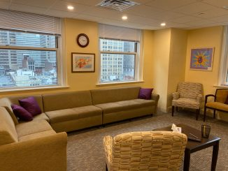This is one of the group rooms at the The Renfrew Center in Center City. The artwork shown was created and donated by patients and alumni of various Renfrew sites.
