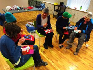 Members of The Sewing Circle of Philadelphia working on a project.
