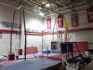 The gymnastics training facility in Pearson Hall at Temple University.